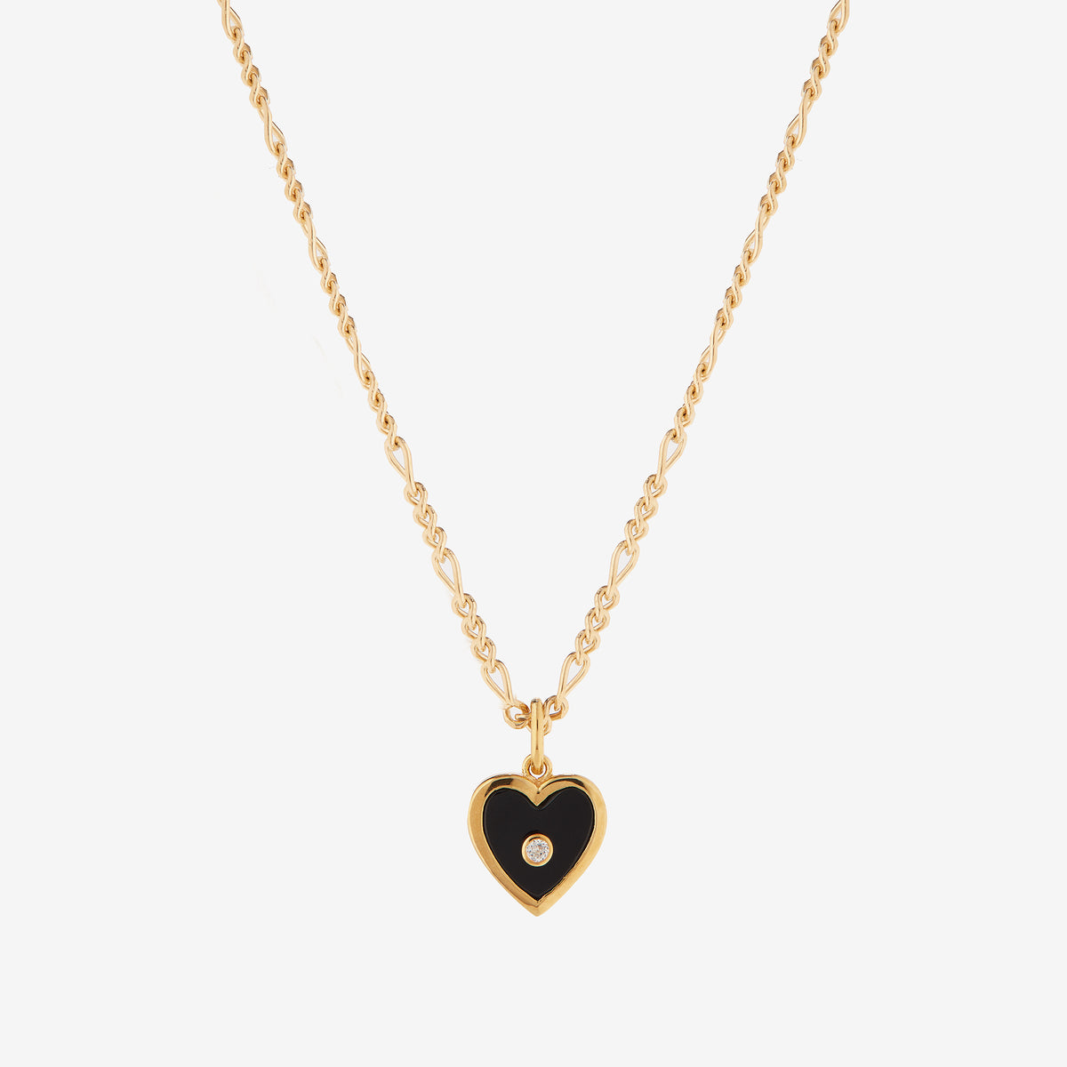Figaro Chain with Black Onyx and White Topaz Heart Pendant