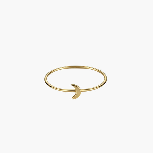 A solid gold thin bamboo ring with a small solid gold moon
