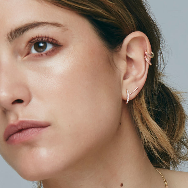 Rose Gold Tiny Staple Stud