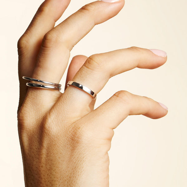 sterling silver stacking ring presented as part of the Otiumberg collection