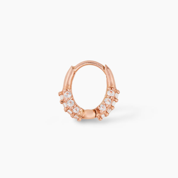 Oval Huggie Rose Gold with White Topaz
