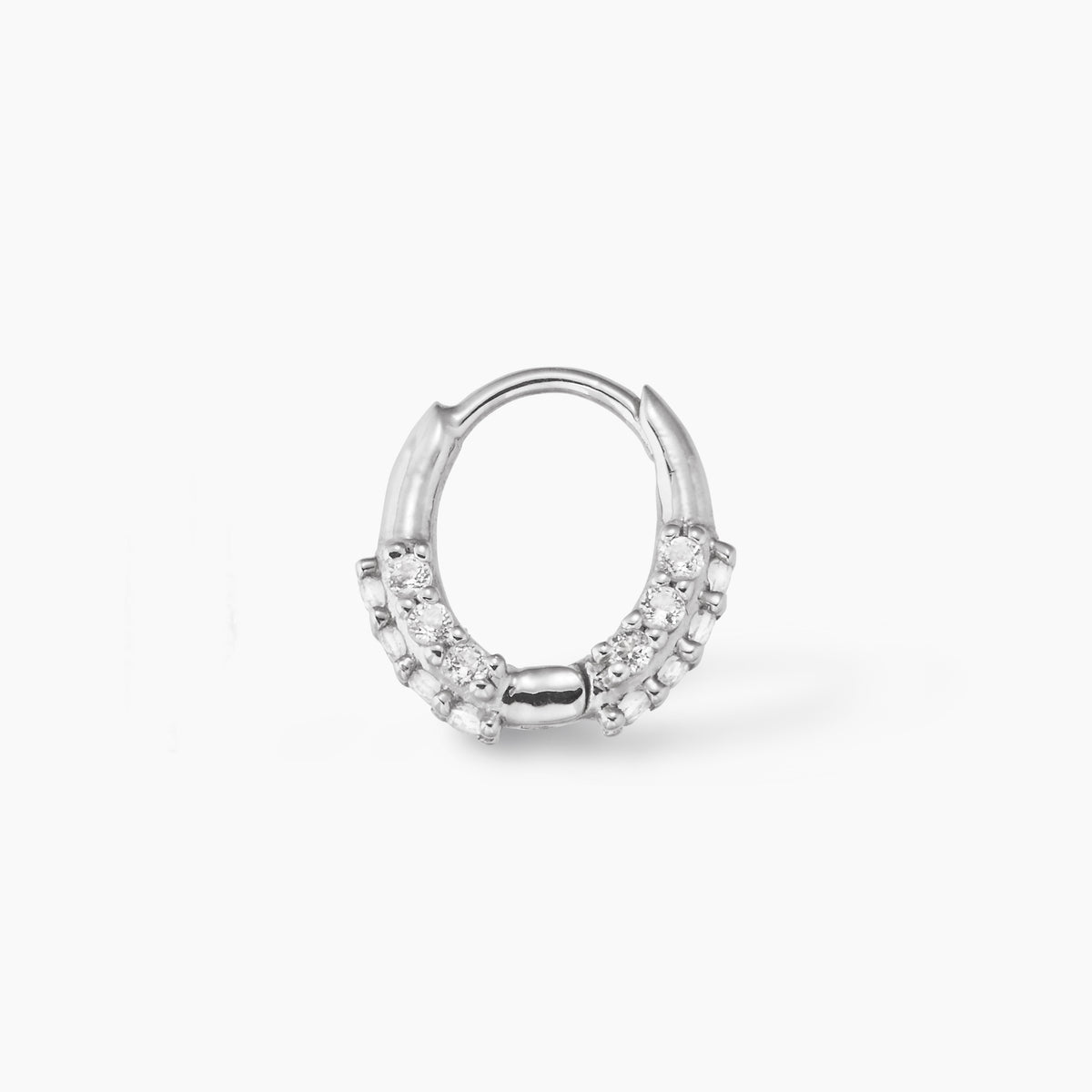 Oval Huggie Silver with White Topaz
