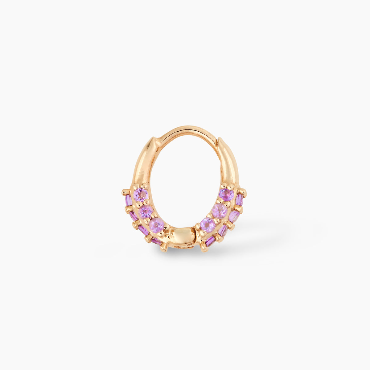 Oval Huggie with Pink Amethyst