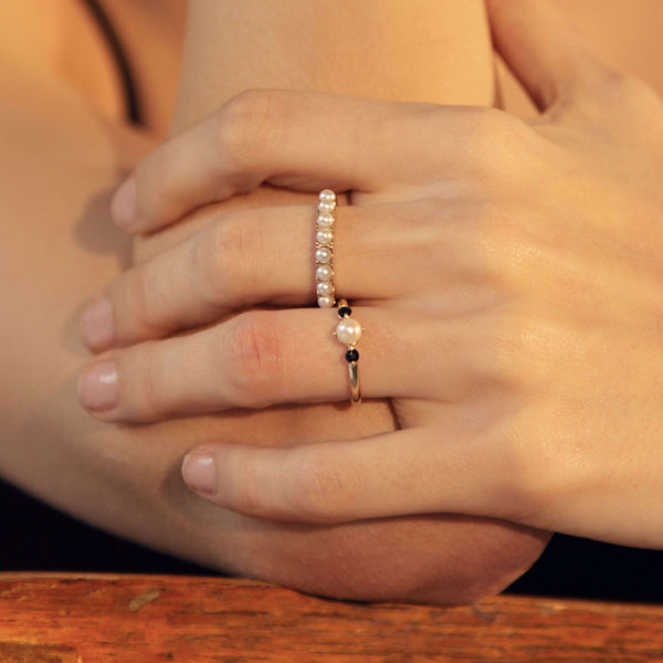 Pearl Half Eternity Ring