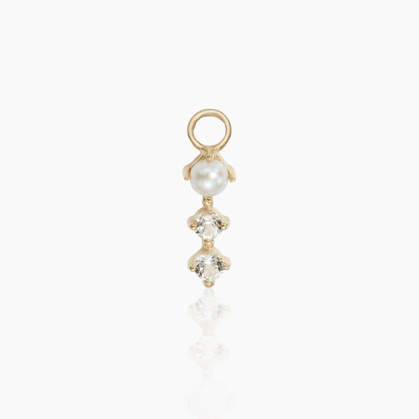 Pearl and White Topaz Charm