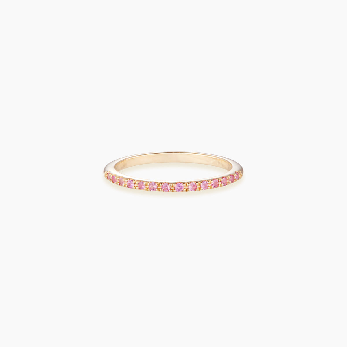 A beautiful half eternity ring paved with pink sapphires