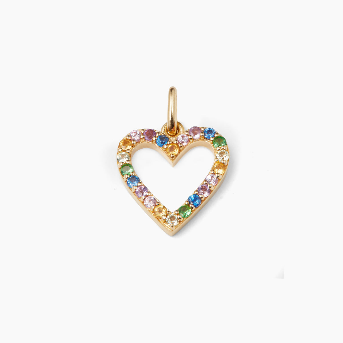 Open Rainbow Heart Pendant