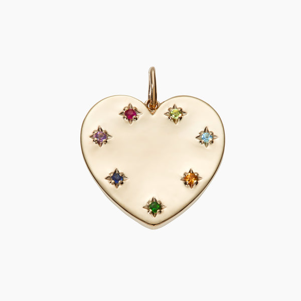 Solid Gold Rainbow Heart Pendant