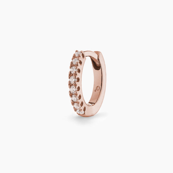 Rose Gold Diamond Huggie Hoop