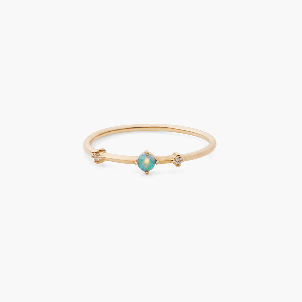 Opal Three Stone Bamboo Ring
