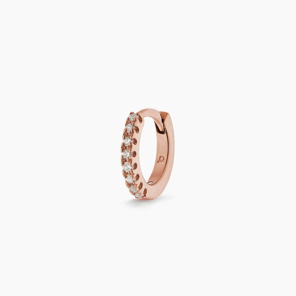Small Rose Gold Diamond Huggie Hoop