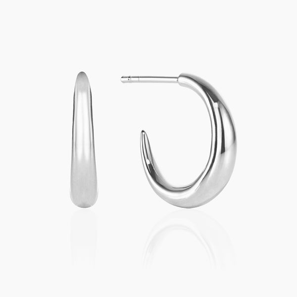 Small Silver Graduated Hoops