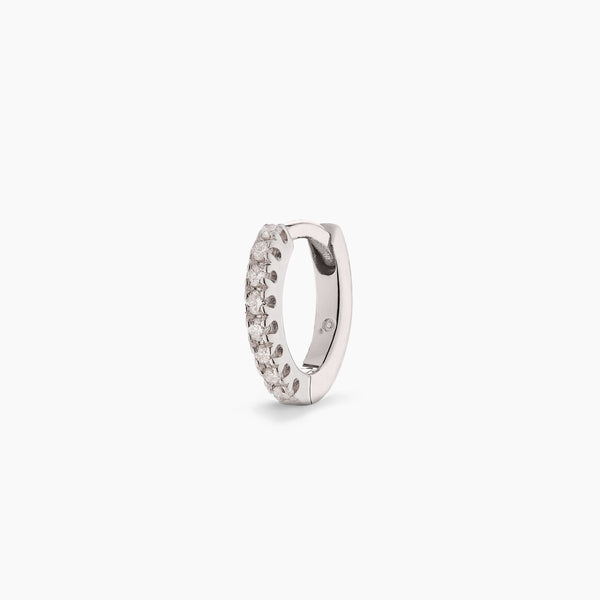 Small White Gold Diamond Huggie Hoop