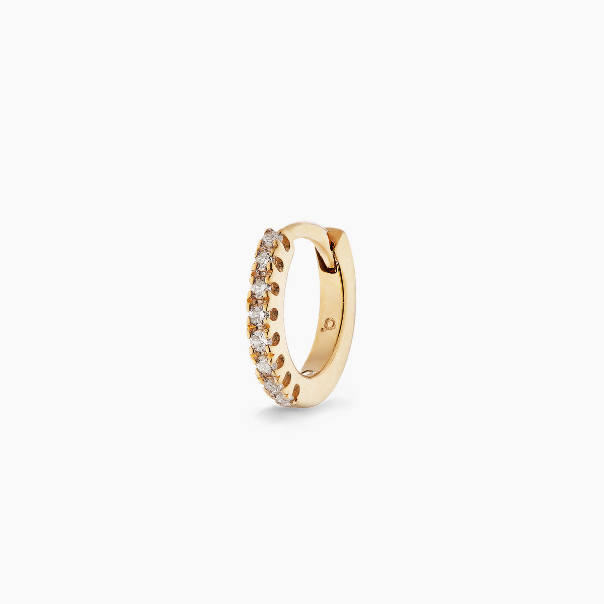 Small Yellow Gold Diamond Huggie Hoop