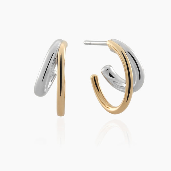 Duo Hoops. Solid Gold.