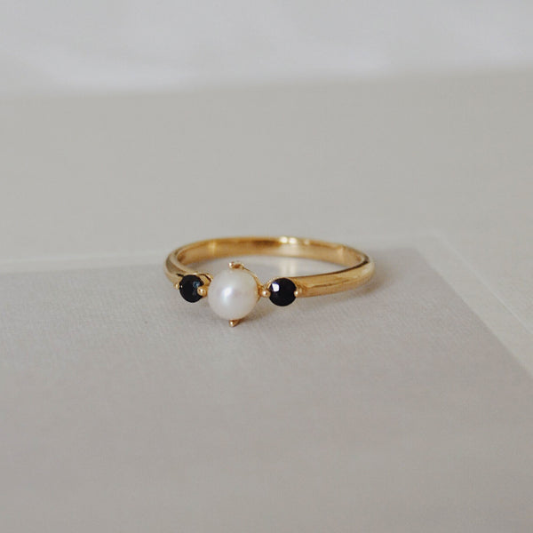 Pearl And Black Sapphire Ring