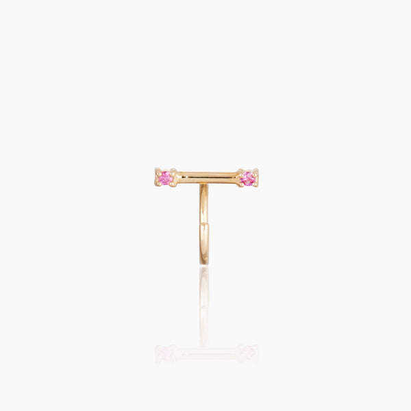 Yellow Gold Tiny Staple Stud with Pink Sapphire