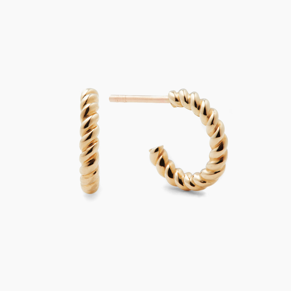 Tiny Gold Twist Hoops