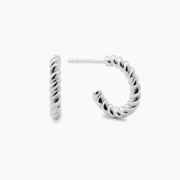 Tiny Silver Twist Hoops