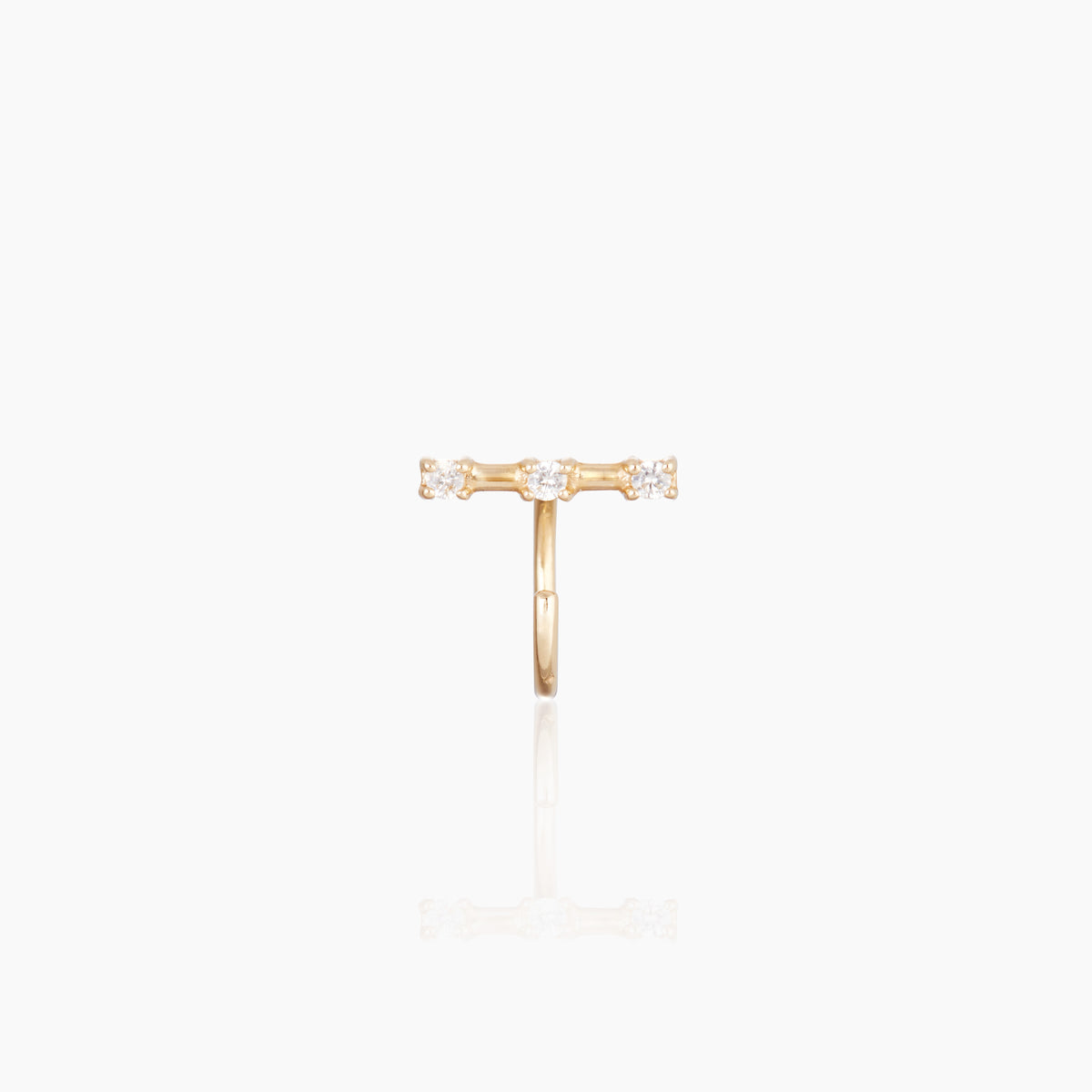 Yellow Gold Tiny Staple Stud with White Topaz