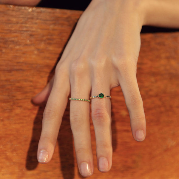 Tsavorite Half Eternity Ring