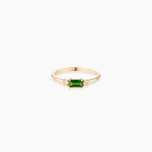 Tsavorite and White Topaz Ring