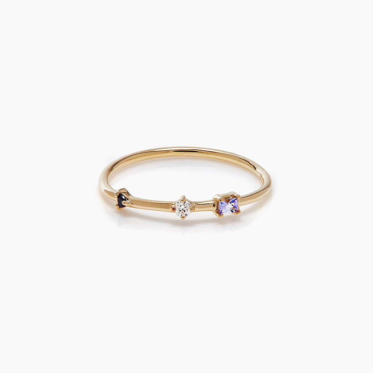 Three Stone Diamond Bamboo Ring