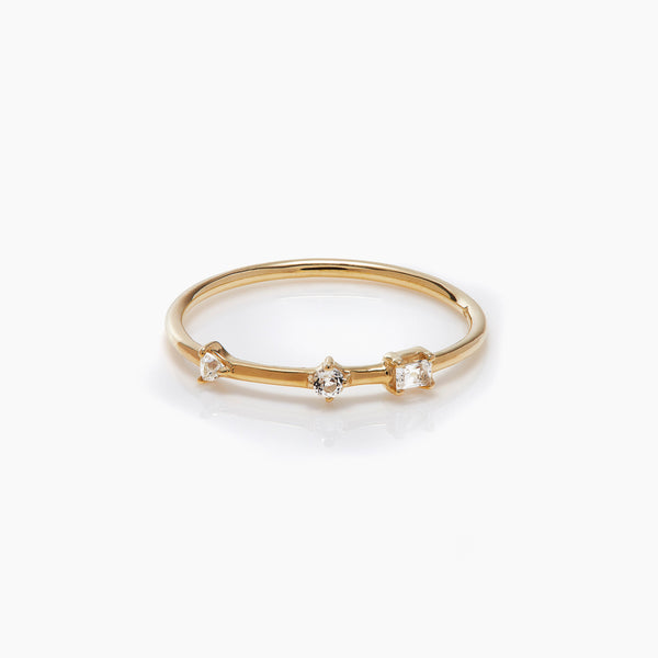 Three Stone Bamboo Ring