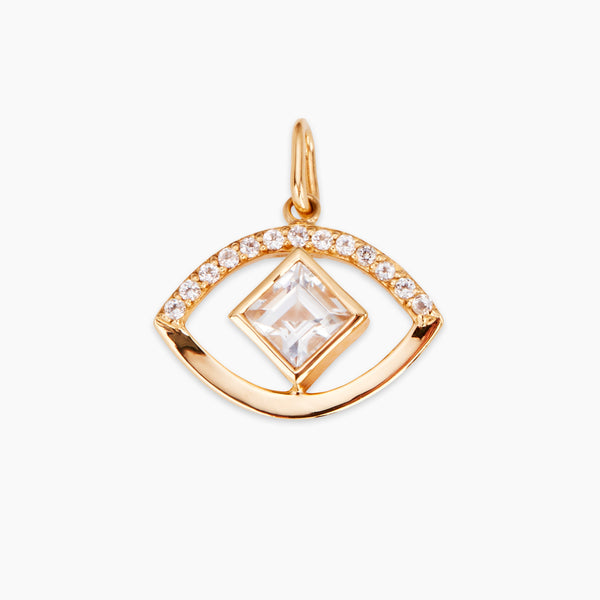 Eye Pendant with Square Cut White Topaz