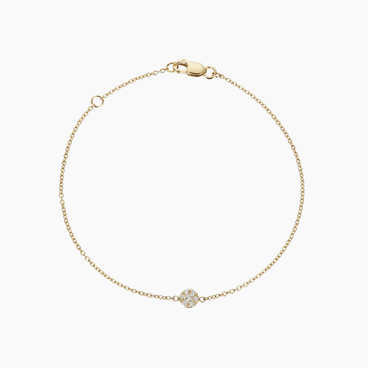 Gold bracelet featuring aboveground diamond disc in partnership with the Diamond Foundry