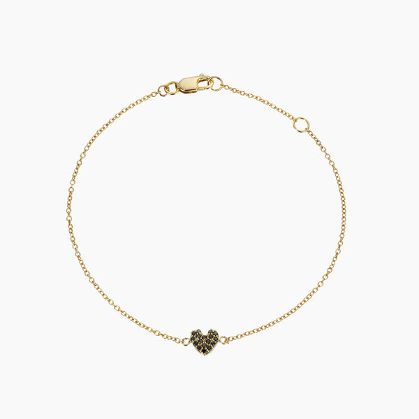 Black Diamond Heart Bracelet