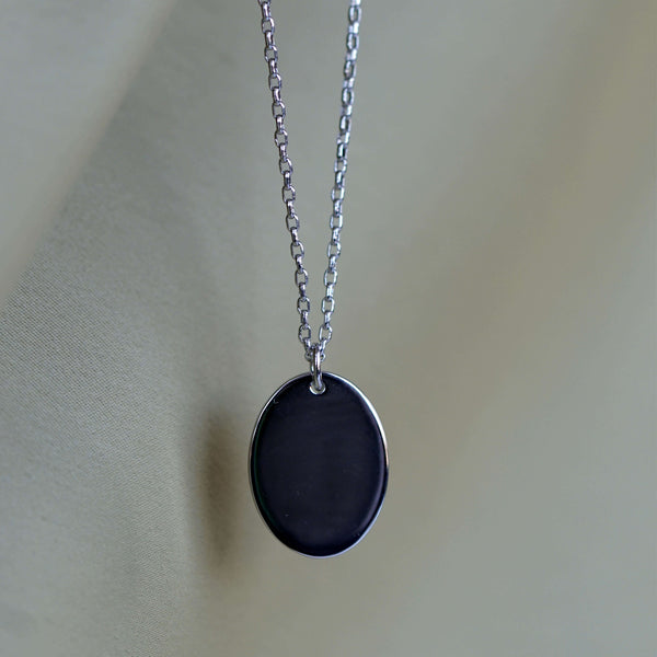 Men's Oval Pendant Necklace Silver. Complimentary Hand Engraving.