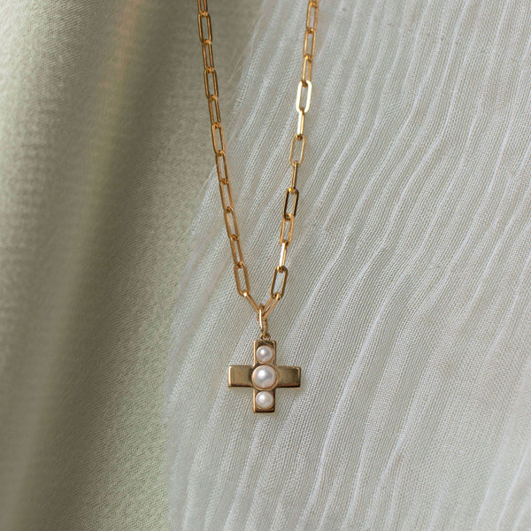 Linked Chain & Pearl Cross Pendant (Pre-order)