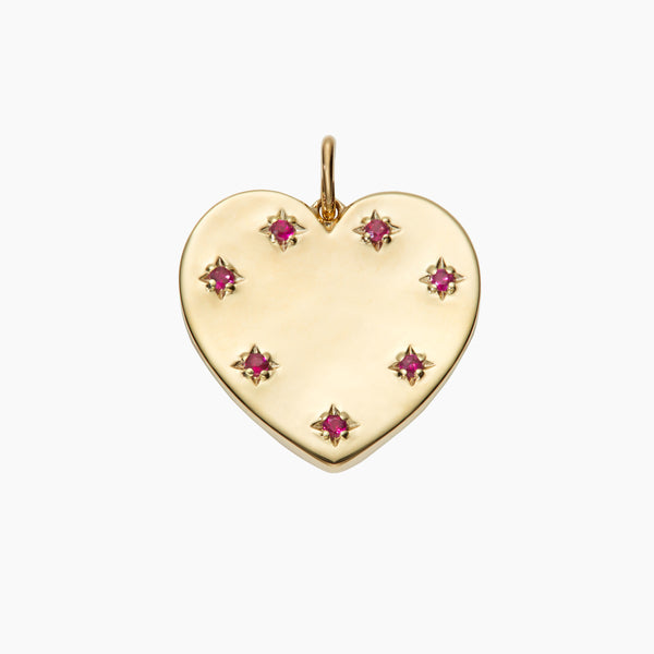 Solid Gold Ruby Heart Pendant