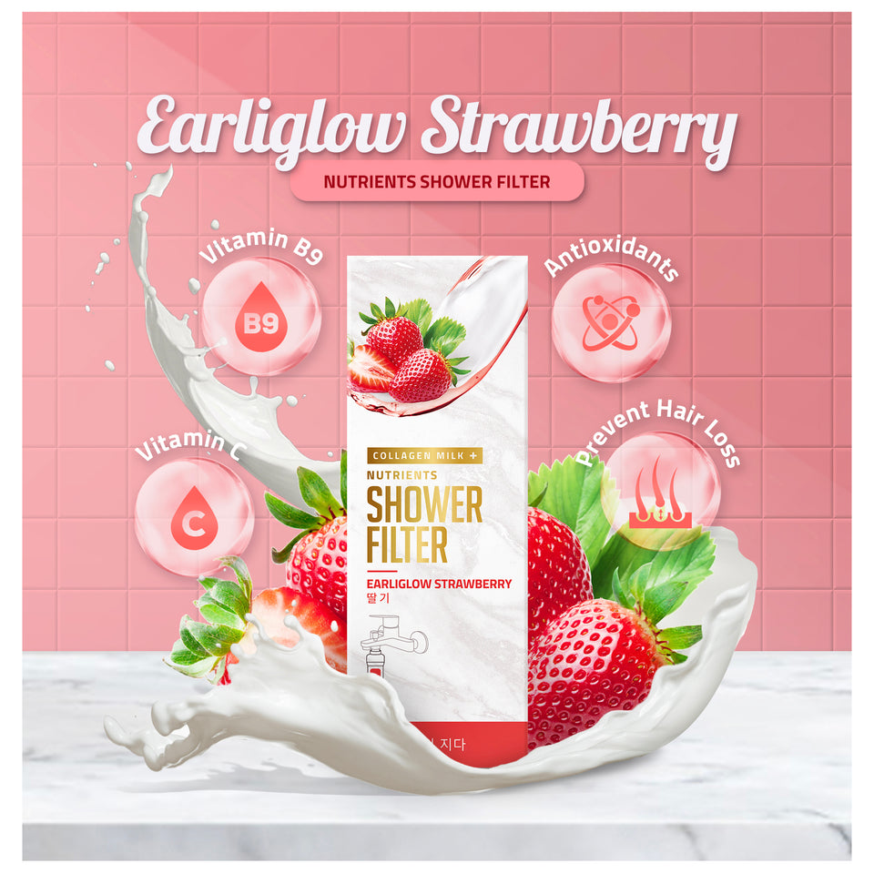 Earliglow Strawberry Collagen Milk+ Nutrients Shower Filter
