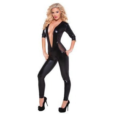 Kitten Wetlook and Mesh  Catsuit - Black - One Size