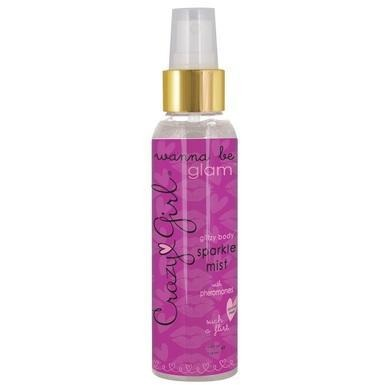 Crazy Girl Wanna Be Glam Glitzy Body Sparkle Mist  with Pheromones - Such a Flirt Silver - 4 Fl.