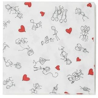 Stick Figure Style Napkins - 8 Pack