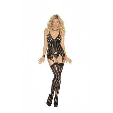 Camisette, G-string and  Stockings - Black - Queen  Size