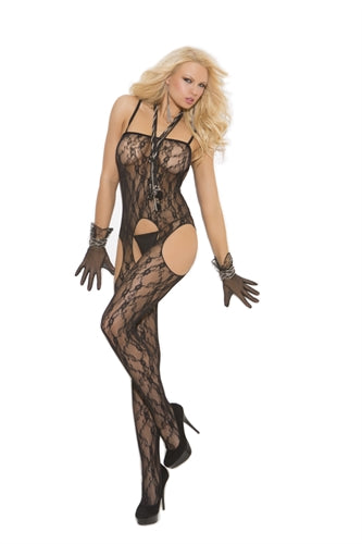 Lace Suspender Body Stocking - One Size - Black