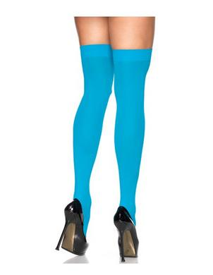 Sheer Thigh High - Queen Size - Turquoise