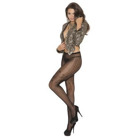 Vertical Stripe Pantyhose - Black - One Size