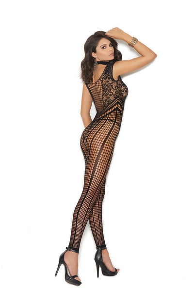 Crochet Footless Bodystocking With Open Crotch - One Size - Black