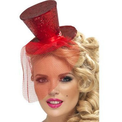 Mini Top Hat on Headband - Red