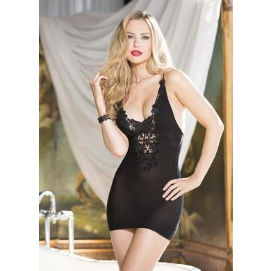 Sheer Mesh Chemise with Venice - Black - One Size