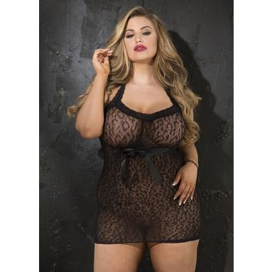 Stretch Leopard Patterened Stretch Lace Chemise - Black - Queen Size
