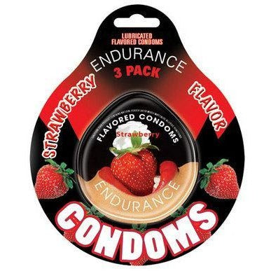 Endurance Strawberry Flavored Condoms - 3 Pack