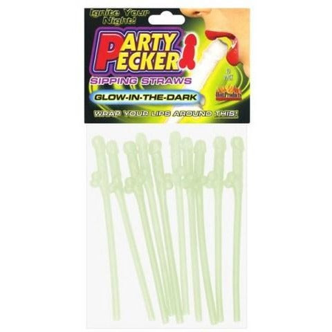 Party Pecker Sipping Straws - Glow In The Dark