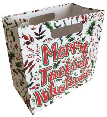 Merry Fucking Whatever - Gift Bag With Die Cut Handles