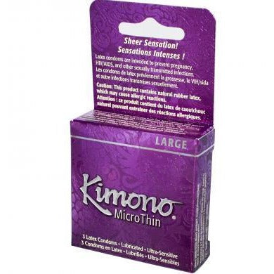 Kimono Microthin Large Condoms - 3 Pack